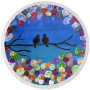 Singing To The Stars Tree Bird Art Painting Print Round Beach Towel