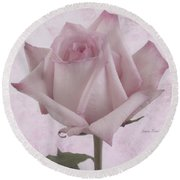 Single Pink Rose Blossom Round Beach Towel by Sandra Foster