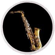 Single Saxophone Against Black Round Beach Towel
