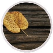 Single Yellow Birch Leaf Round Beach Towel