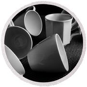 Singled Out - Coffee Cups Round Beach Towel