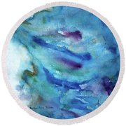Round Beach Towel featuring the painting Sinking by Anna Ruzsan
