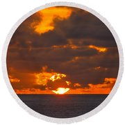 Sinking In The Sea Round Beach Towel by Greg Norrell