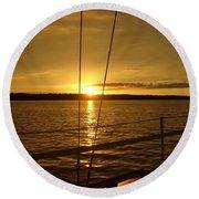 Stay Golden Round Beach Towel by Deena Stoddard