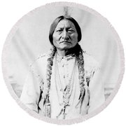 Sioux Chief Sitting Bull Round Beach Towel