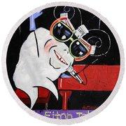Sir Elton John Tooth  Round Beach Towel by Anthony Falbo