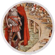 Sir Galahad Is Brought To The Court Of King Arthur Round Beach Towel