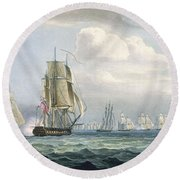 Sir Sidney Smiths Squadron Engaging Round Beach Towel