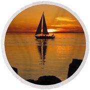 Sister Bay Sunset Sail 2 Round Beach Towel