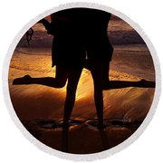 Sister Sunset Round Beach Towel