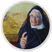 Sister Wendy Round Beach Towel