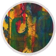 Round Beach Towel featuring the painting Sisters by Anna Ruzsan