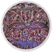 Round Beach Towel featuring the photograph Sistine Chapel by Allen Beatty