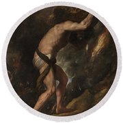 Round Beach Towel featuring the painting Sisyphus by Titian