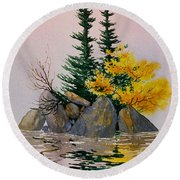Round Beach Towel featuring the painting Sitka Isle by Teresa Ascone