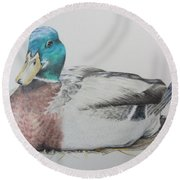 Sitting Duck Round Beach Towel by Laurianna Taylor