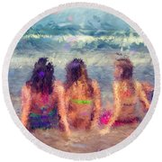 Sitting In The Surf Round Beach Towel by Erika Weber