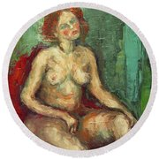 Female Nude In Red Chiar Round Beach Towel