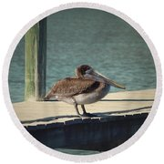 Round Beach Towel featuring the photograph Sitting On The Dock Of The Bay by Kim Hojnacki