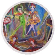 Round Beach Towel featuring the painting Six Eight Waltz by Judith Desrosiers