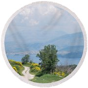 Six Islands 2 Round Beach Towel by George Katechis