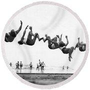 Six Men Doing Beach Flips Round Beach Towel