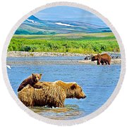 Six-month-old Cub Riding On Mom's Back To Cross Moraine River In Katmai National Preserve-alaska Round Beach Towel