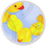 Six Rubber Ducks Round Beach Towel by Valerie Reeves