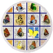 Sixteen Butterflies Round Beach Towel by Marian Cates