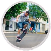 Skateboarding In Brazil Round Beach Towel