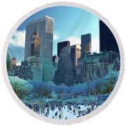Skating Fantasy Wollman Rink New York City Round Beach Towel