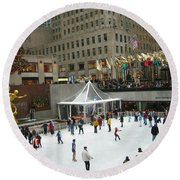 Skating In Rockefeller Center Round Beach Towel