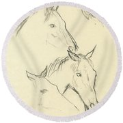 Sketch Of A Horse Head Round Beach Towel
