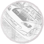 Sketched S2000 Round Beach Towel
