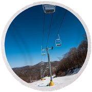 Ski Lift Round Beach Towel