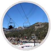Ski Lifts At Squaw Valley Usa 5d27639 Round Beach Towel