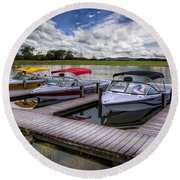 Ski Nautique Round Beach Towel by Debra and Dave Vanderlaan