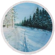 Round Beach Towel featuring the painting Ski Tracks by Martin Howard