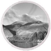 Skiddaw And Friars Crag Mountainscape Round Beach Towel
