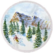 Skier In The Trees Round Beach Towel