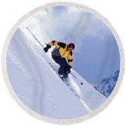 Skier On Powder Slope Round Beach Towel