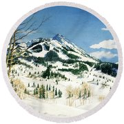 Skiers Paradise Round Beach Towel by Barbara Jewell