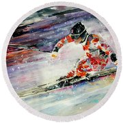 Skiing 01 Round Beach Towel