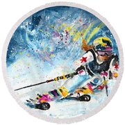Skiing 03 Round Beach Towel