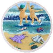 Skinny Dippers Round Beach Towel