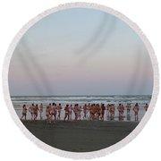 Skinny Dipping Down A Moon Beam Round Beach Towel