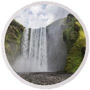 Skogarfoss Waterfall Round Beach Towel