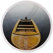 Round Beach Towel featuring the photograph Skc 0042 Calmness Anchored by Sunil Kapadia
