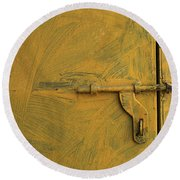 Round Beach Towel featuring the photograph Skc 0047 The Door Latch by Sunil Kapadia