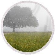 Round Beach Towel featuring the photograph Skc 0056 Tree In Fog by Sunil Kapadia
